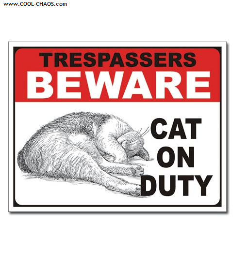 Beware of Cat Sign / No Trespassing Tin Sign
