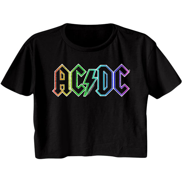 AC/DC Crop Top / Juniors AC/DC Rainbow 80's throwback Half Shirt Tee