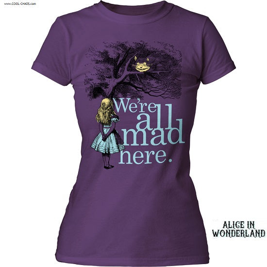 Alice in Wonderland We're all Mad Here T-Shirt / Purple Juniors Tee