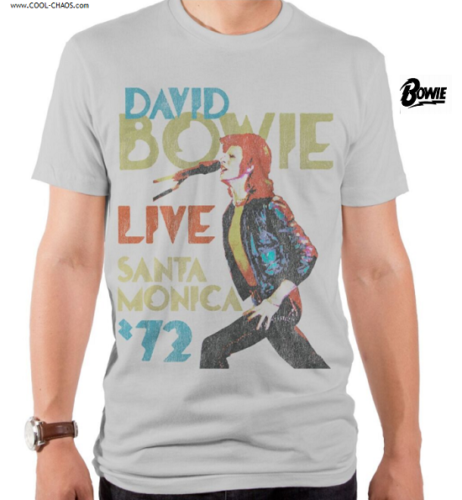 David Bowie T-Shirt / David Bowie 'Live in Santa Monica '72' Retro New Tee
