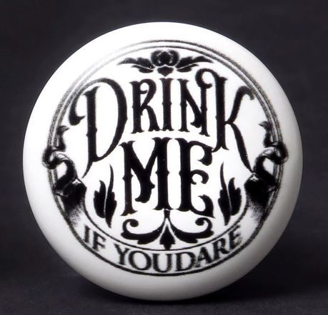 'DRINK ME' Haunting Bottle Stopper/ Ceramic Wine Bottle Stopper by Alchemy Gothic 1977