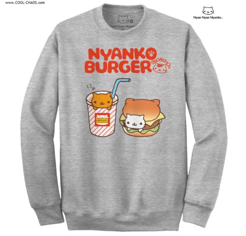 Nyanko Burger Cat Sweatshirt / Kawaii Kitty Pullover,Juniors Sweatshirt by Nyan Nyan Nyanko