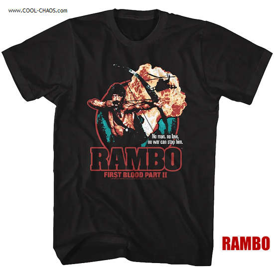 Rambo T-Shirt / Rambo First Blood Part II 'No Man,No Law,No Wall can stop him' Movie Tee