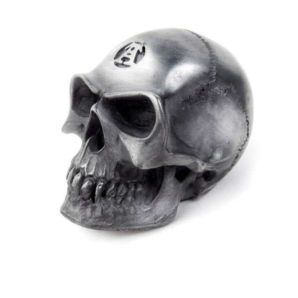 2.5 inch Silver Skull Resin Paper Weight Home Decor