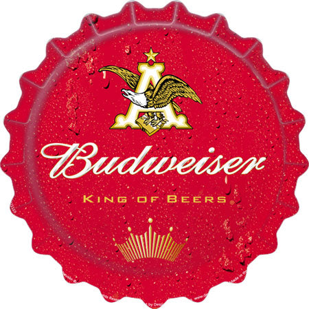 Budweiser Beer Bottle Cap Tin Sign