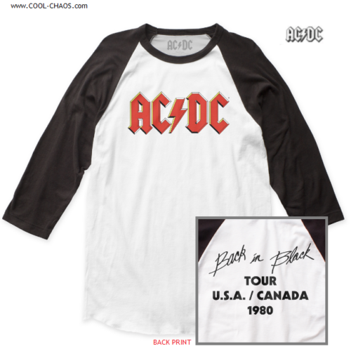 AC/DC Concert Tour T-Shirt / AC/DC 80s Retro ROCK New Baseball Tee
