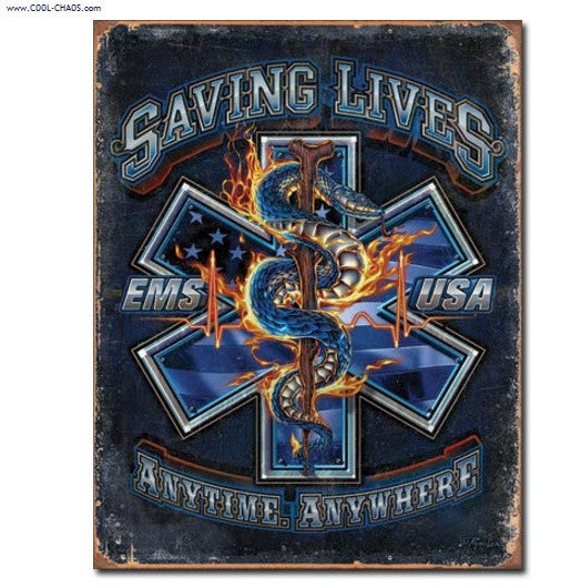Backbone of America EMS Tin Sign / EMS Saving Lives