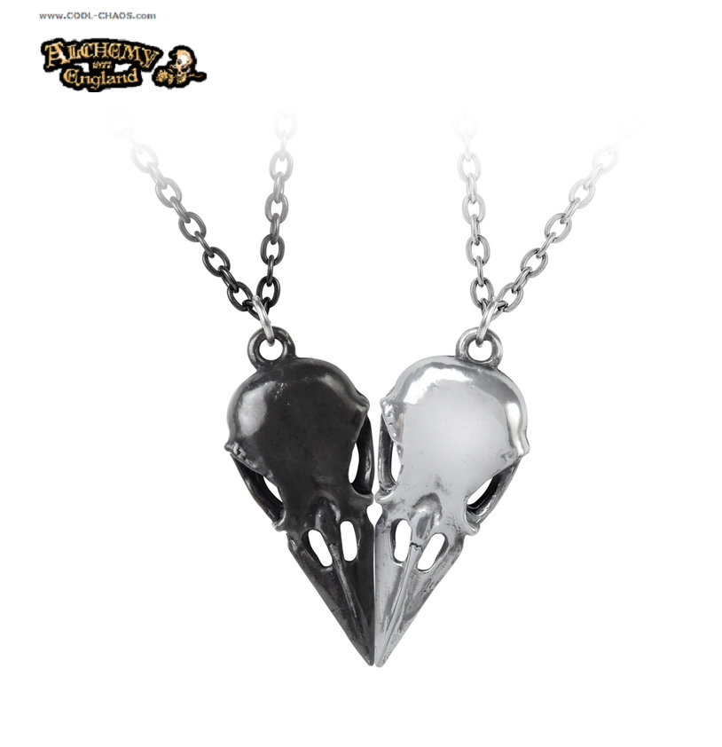 2 Raven Skulls Form Heart Necklaces / Gothic Romance from Alchemy Gothic 1977