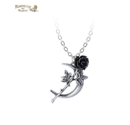 Black Rose Crecent Moon Necklace / Pewter Pendant,Alchemy Gothic 1977 Jewelry