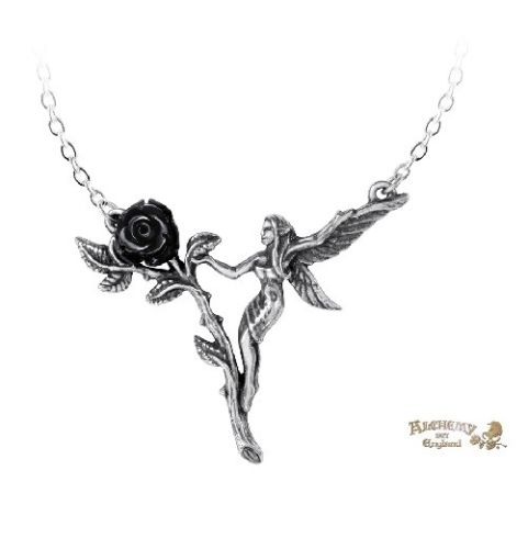 Black Rose Fairy Necklace / Pewter Faery Pendant,New Alchemy Gothic 1977 Jewelry