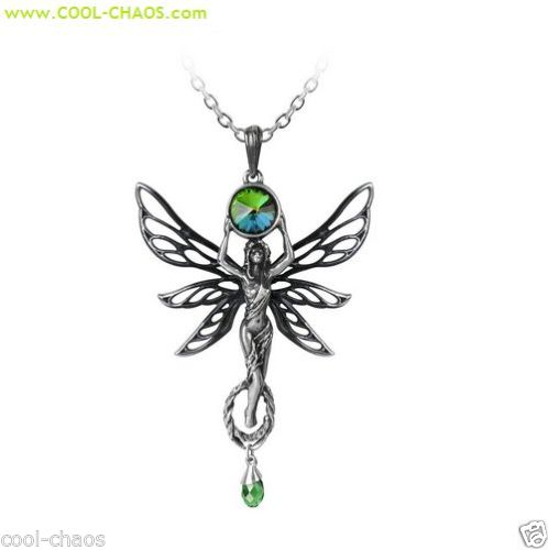 Absinthe Green Goddess Pewter Fairy Necklace