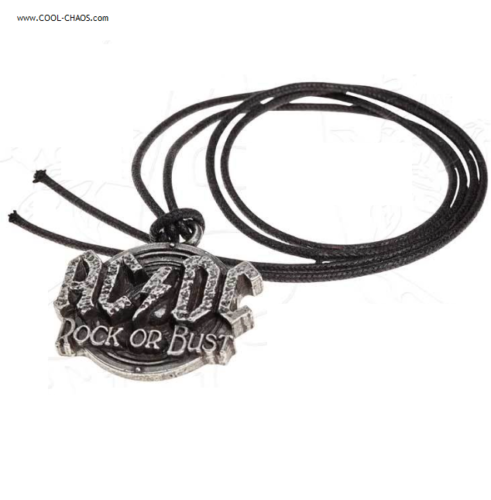 AC/DC Necklace / Rock or Bust,Official AC/DC Thong Necklace,Pewter AC/DC Charm