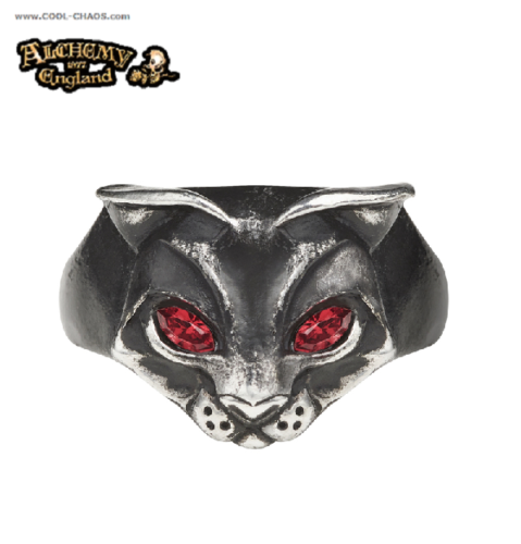 Red Crystal Goddess Sacred Cat Ring / Pewter Crystal Cat Ring