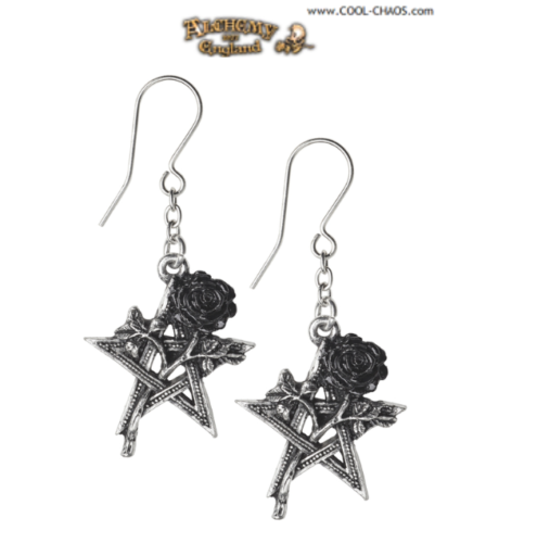 Black Rose Pentagram Earrings / E395 - Black Star Earrings