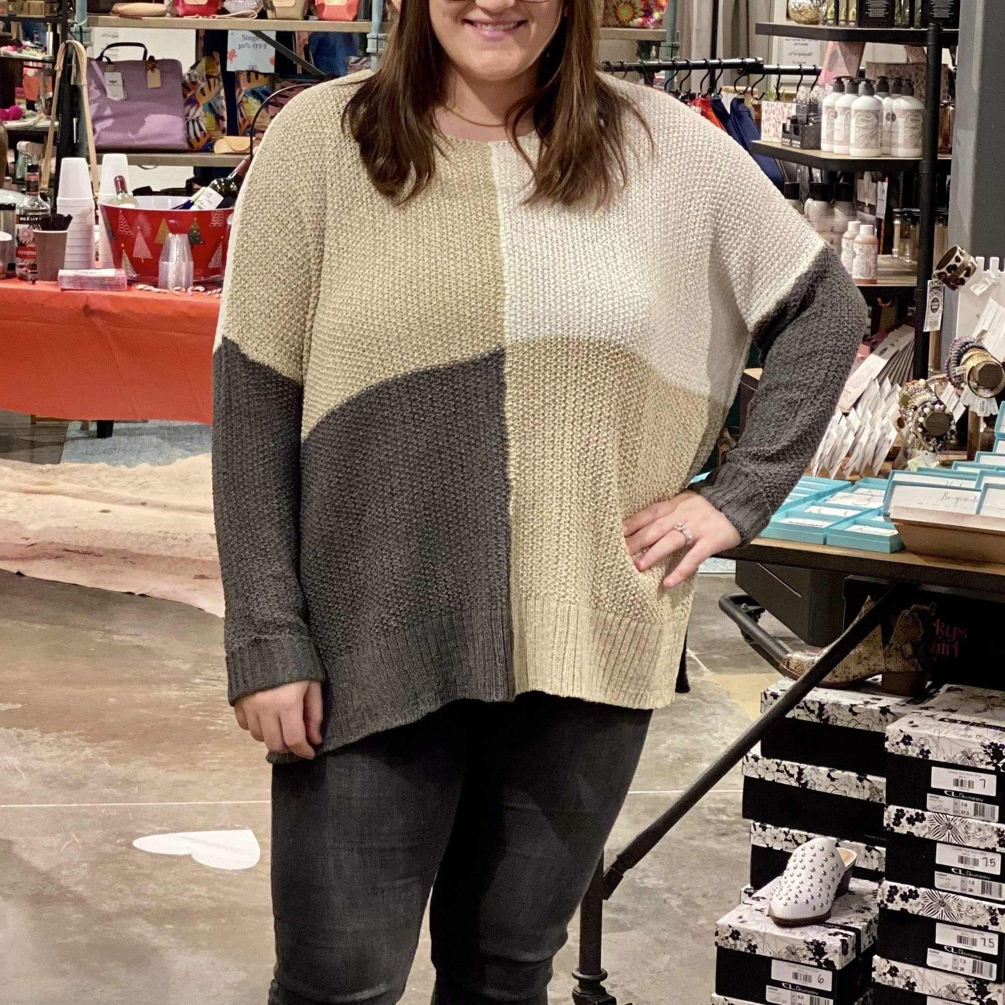 Curvy Block It Out Sweater - Brave Boutique