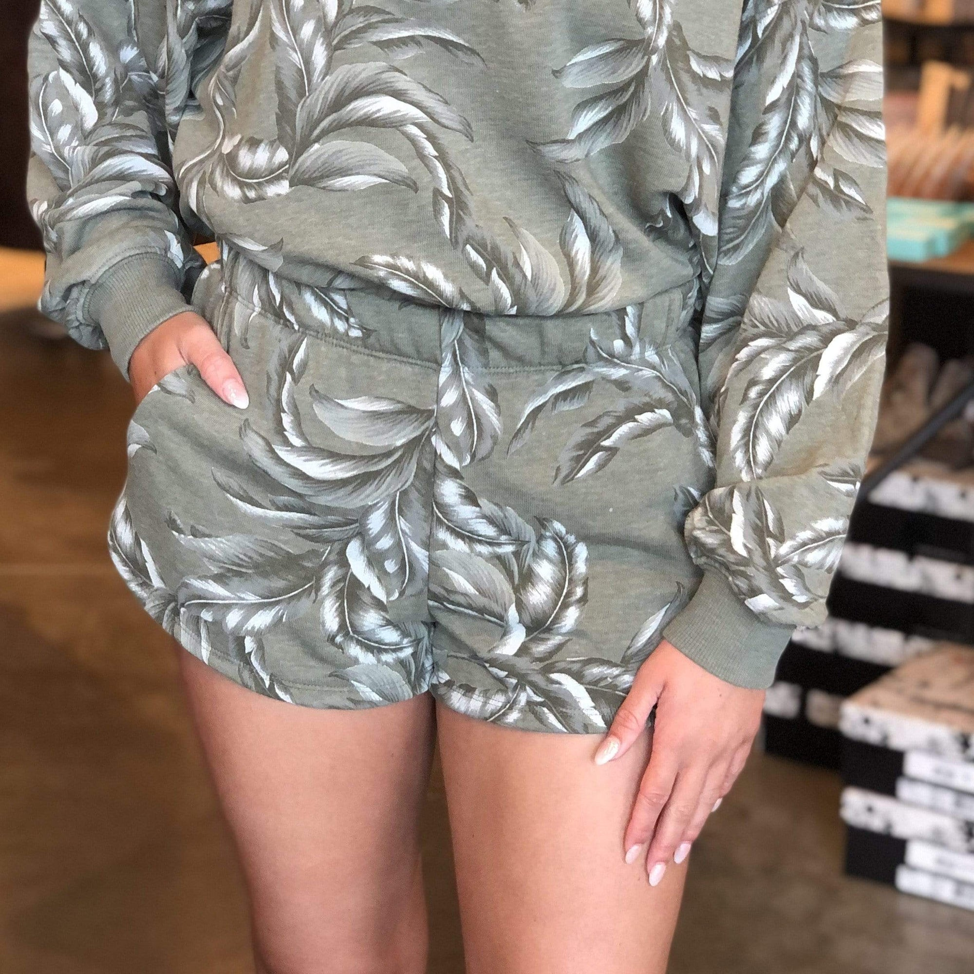 Kyla Palm Short-Agave Green - Brave Boutique