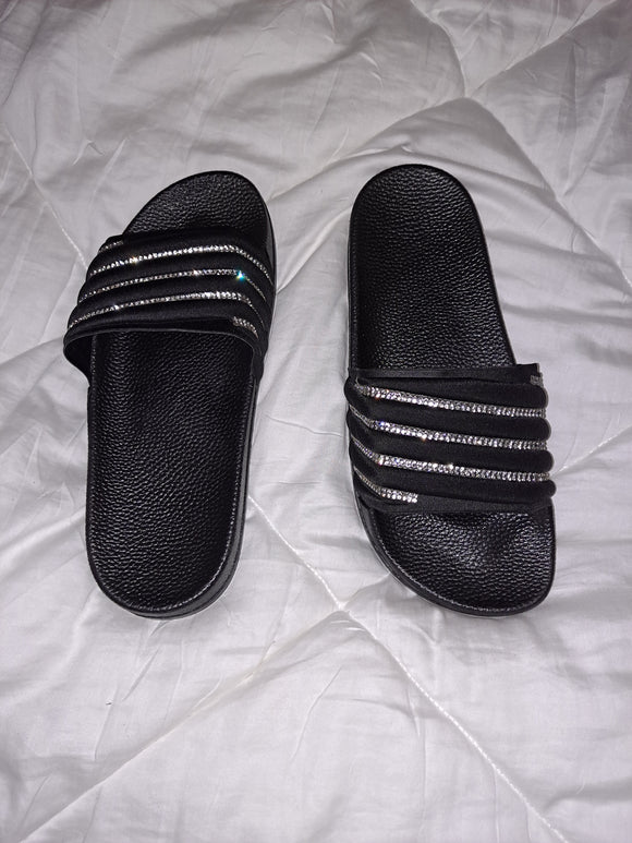 Black Bling Slides