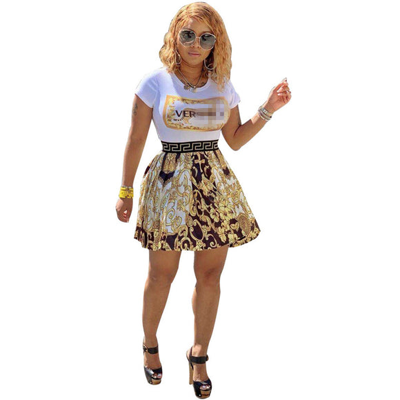 Lux T shirts + Floral Print Pleated Skirt Set