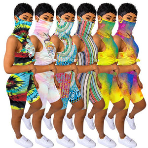 (Wholesale Pack 5+ WSSH) Tie Dye Tracksuit Jogger Suit With Mask