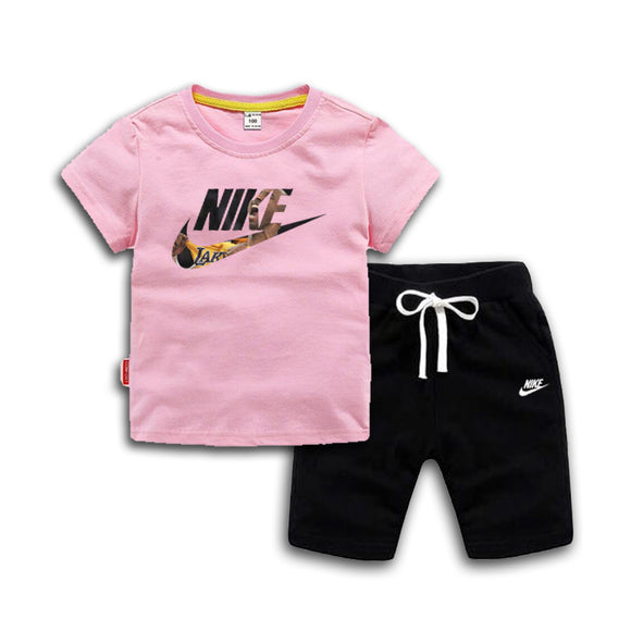 Kids T-shirt And Pant Children Cotton Sets Pink - Dominick's Boutique
