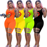 (Wholesale Pack 5+ WSSH) Sexy ripped color bodysuit sleeveless one piece