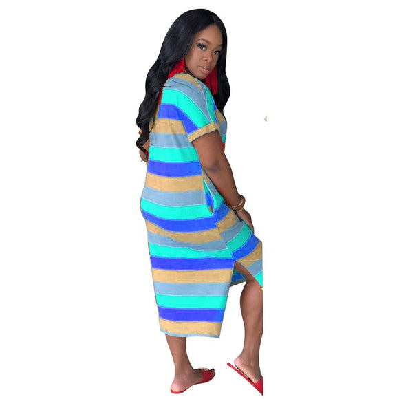Brand Designer Women Dresses Letter Gold Striped Midi Dress Short Sleeve V-neck Loose Summer Casual Clothing Long Shirt Skirt 88520 837 Blue - Dominick's Boutique