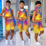 (Wholesale Quantity 5+ WSSH) Tie Dye Tracksuit Jogger Suit With Mask