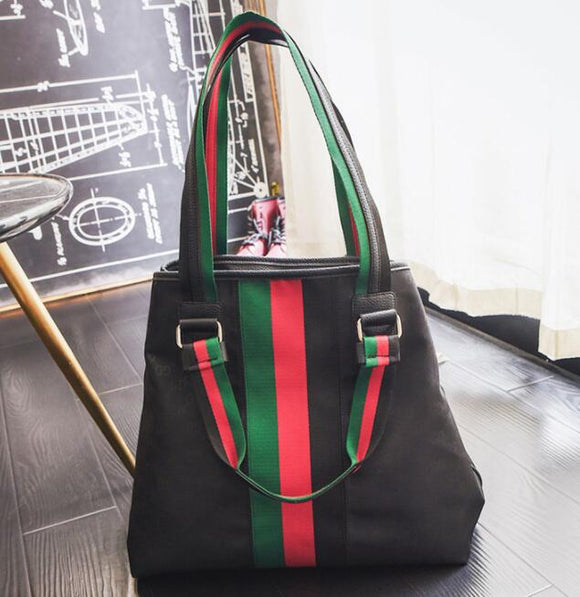 Lux Classic Red Green Stripe Large Handbag  2 - Dominick's Boutique