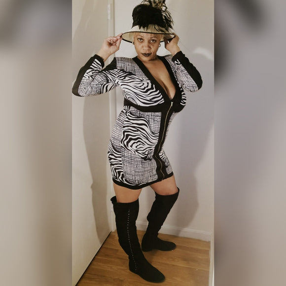 Sexy Zebra Print Front Zipper Dress