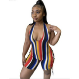 Wholesale Quantity 5+ ! (Wholesale Packs 5+ WSSH) Playsuits Halter Backless Striped Jumpsuits