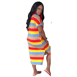 Brand Designer Women Dresses Letter Gold Striped Midi Dress Short Sleeve V-neck Loose Summer Casual Clothing Long Shirt Skirt 88520 837 Red - Dominick's Boutique