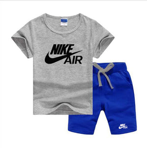 Baby Boys And Girls Designer T-shirts And Shorts Set  Gray Blue - Dominick's Boutique
