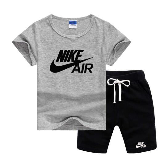 Baby Boys And Girls Designer T-shirts And Shorts Set  Gray Black - Dominick's Boutique