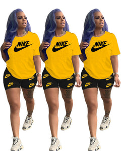 (Wholesale Quantity 5+ WSSH)2 Piece Set Short Sleeve Letter Sports Suit Crew Neck Outfits