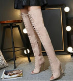 ribbon lace up thigh high boots - Dominick's Boutique