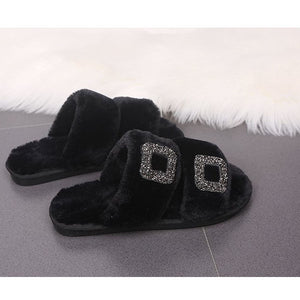 Flat Square Rhinestone Button Slip On Fur Flip Flops Casual Slippers - Dominick's Boutique