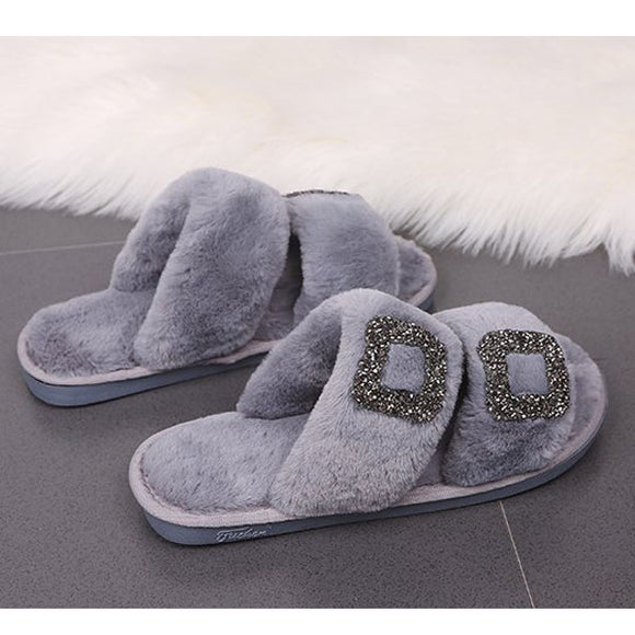 Flat Square Rhinestone Button Slip On Fur Flip Flops Casual Slippers