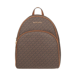 Michael Kors Abbey Large Backpack Brown MK Signature PVC Leather Lux - Dominick's Boutique