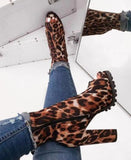 platform chunky heel open toe low boots - Dominick's Boutique