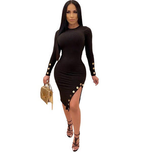 Ribbed High Side Slit Club Dress - Dominick's Boutique