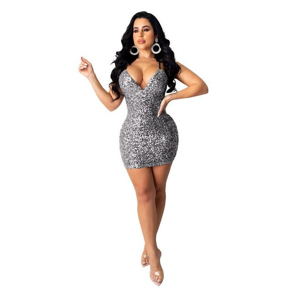Glam Sequins Sexy Deep V Party Dresses - Dominick's Boutique