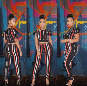 (Wholesale Quantity  5+ WSPN) Stripe Ruffle Rainbow Short Sleeve Crop Top Suits