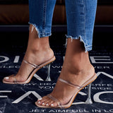 sexy clear crystal stiletto ladies shoes platform slides