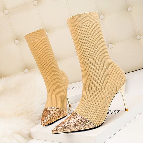 Luxury Sparkly 9cm High Heels Glitter knitting Boots