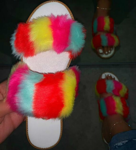 Double Rainbow Fur Slides