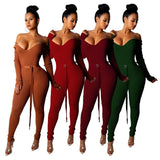 Ribbed with Belt Women Sexy V Neck Knitting Jumper