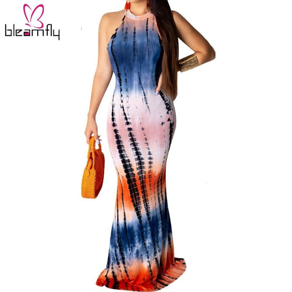 Tie Dye  Long Maxi Retro Dress - Dominick's Boutique