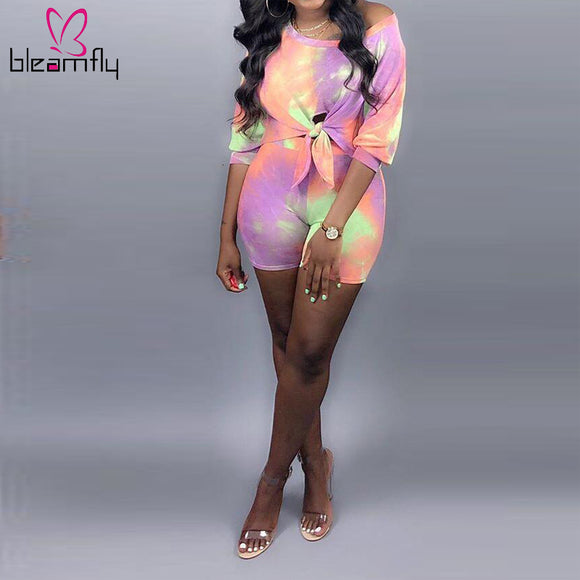 Tie Dye Sexy Tie Up Biker Shorts Set - Dominick's Boutique