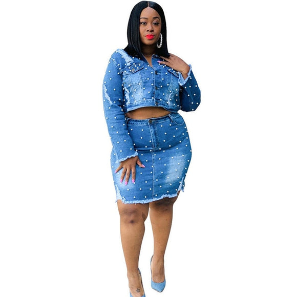 Denim Crop Top Jacket + Mini Skirts Sets - Dominick's Boutique