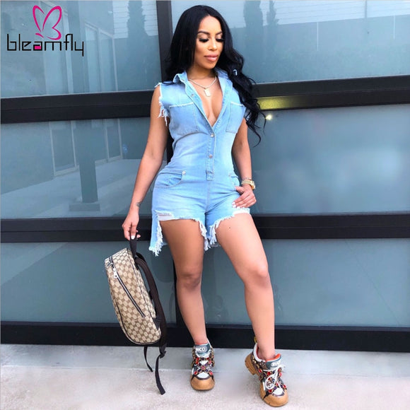 Ripped Cut Up Sleeveless Short Denim Playsuit - Dominick's Boutique